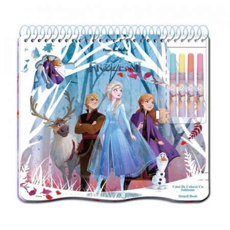 Caiet de colorat cu sabloane, Frozen2