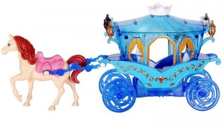 Caleasca albastra cu un cal, Mega Creative 31x17x8.5 cm2