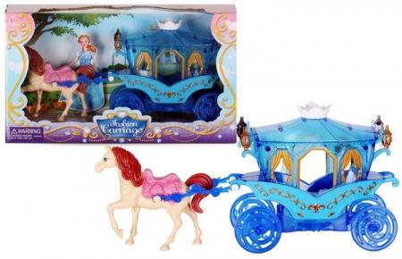 Caleasca albastra cu un cal, Mega Creative 31x17x8.5 cm0