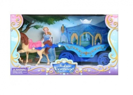 Caleasca albastra cu un cal, Mega Creative 31x17x8.5 cm1