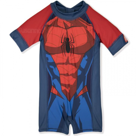 Costum de baie cu maneci scurte si fermoar,Spiderman,2 ani0