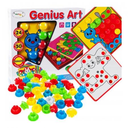 Joc de creatie interactiv Puzzle Mozaic 24 planse si 50 piese colorate [1]