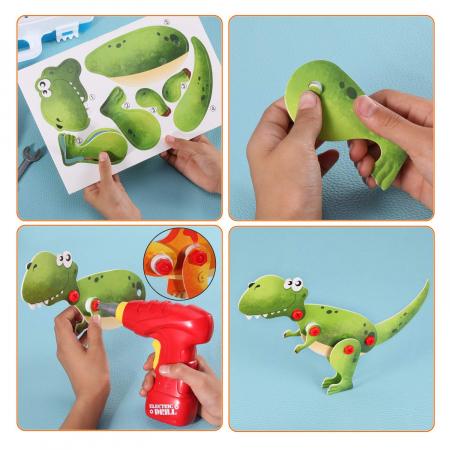 Jucarie educativa puzzle creativ Animale DYI cu valiza si surubelnita 120 piese [3]