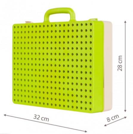 Jucarie educativa puzzle creativ Gear DYI cu valiza si surubelnita [9]
