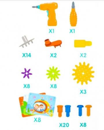 Jucarie educativa puzzle creativ Gear DYI cu valiza si surubelnita [7]