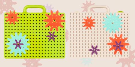 Jucarie educativa puzzle creativ Gear DYI cu valiza si surubelnita [3]