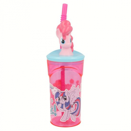 Pahar My little Pony cu capac si pai plastic 360 ml1