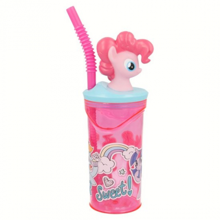 Pahar My little Pony cu capac si pai plastic 360 ml0