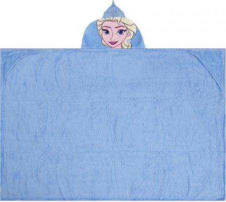 Patura copii cu gluga Frozen bleu cocolino 80 x120 cm [2]