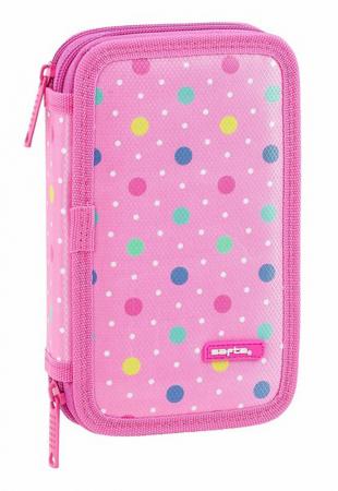 Penar echipat 2 compartimente Dots roz 28 piese0