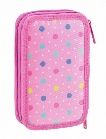 Penar echipat 2 compartimente Dots roz 28 piese3