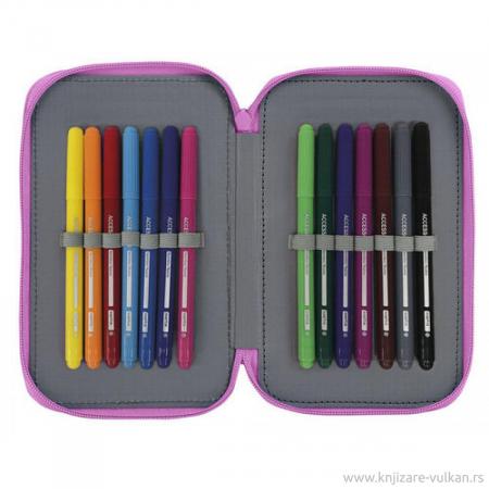 Penar echipat 2 compartimente Dots roz 28 piese2
