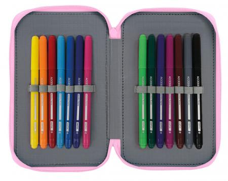 Penar echipat 2 compartimente Dots roz 28 piese1