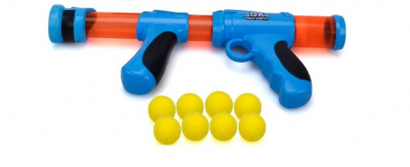 Pistol cu bile galbene spuma EVA, albastru1