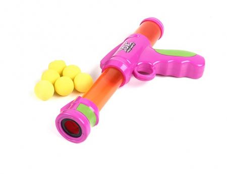 Pistol cu bile galbene spuma EVA, roz0