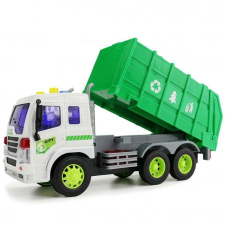 Masina de gunoi cu sunet si lumini verde 23x16x10 cm1
