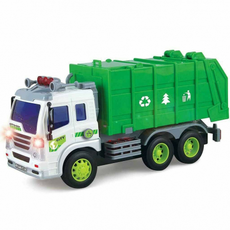 Masina de gunoi cu sunet si lumini verde 23x16x10 cm3