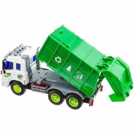 Masina de gunoi cu sunet si lumini verde 23x16x10 cm0