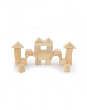 Set pentru construit, 50 piese lemn natur [7]