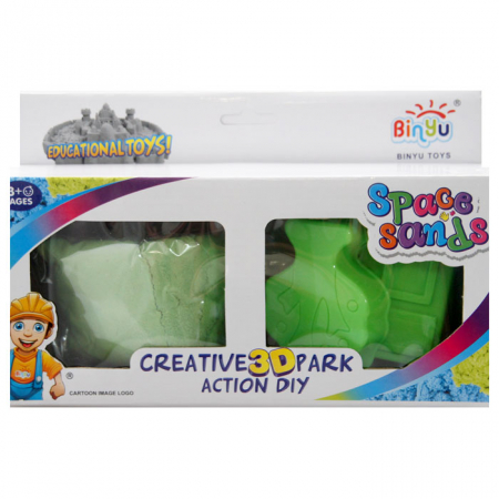 Set creativ 3D nisip kinetic verde+2 forme1