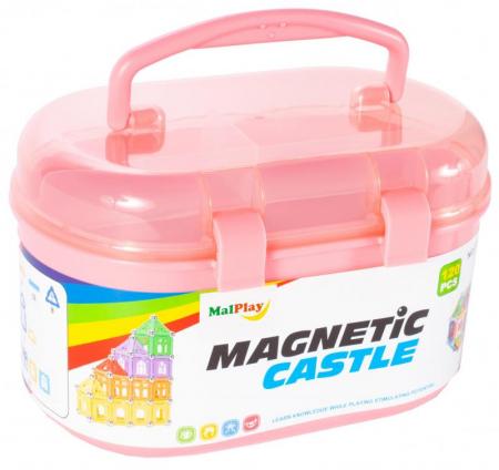 Set de constructie 3D magnetic Castel 120 piese, multicolor [1]