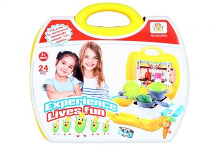 Set de joaca bucatarie Creative valiza galbena 24X22X10 cm0