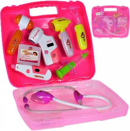 Set de joaca trusa medicala cu sunet si lumini, 9 piese  roz [1]