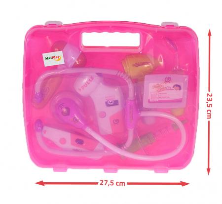 Set de joaca trusa medicala cu sunet si lumini, 9 piese  roz [3]