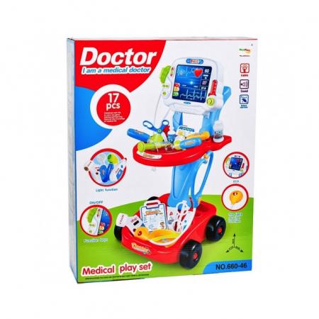 Set medical Ecograf portabil cu sunete si lumini, accesorii incluse, Albastru [6]