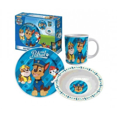 Set mic dejun 3 piese ceramica Paw Patrol Puppy1