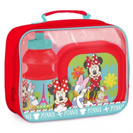 Set pranz Minnie geanta + cutie + sticla plastic 400 ml rosu0
