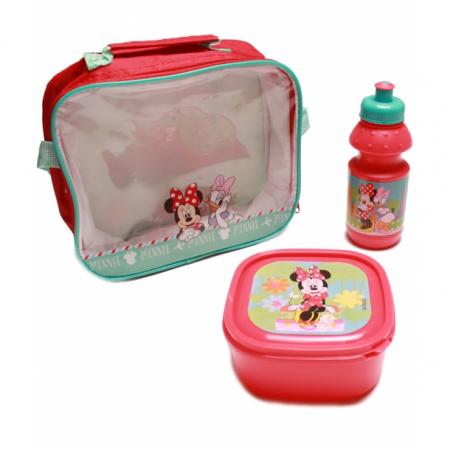 Set pranz Minnie geanta + cutie + sticla plastic 400 ml rosu1