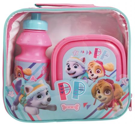Set pranz Paw Patrol geanta + cutie + sticla plastic 400 ml roz3
