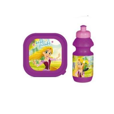 Set pranz Rapunzel geanta + cutie + sticla plastic 400 ml mov1