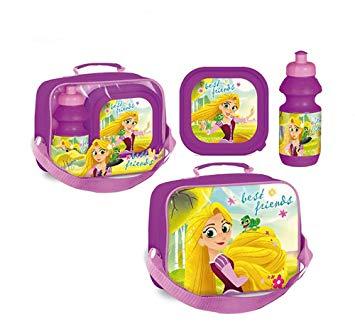 Set pranz Rapunzel geanta + cutie + sticla plastic 400 ml mov0