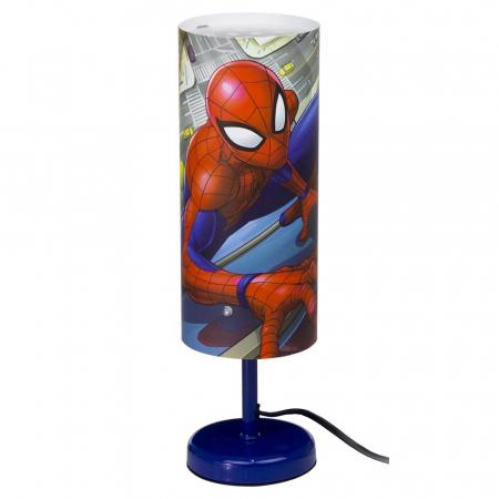Veioza lampa cilindru noptiera Spiderman albastru 29 cm0