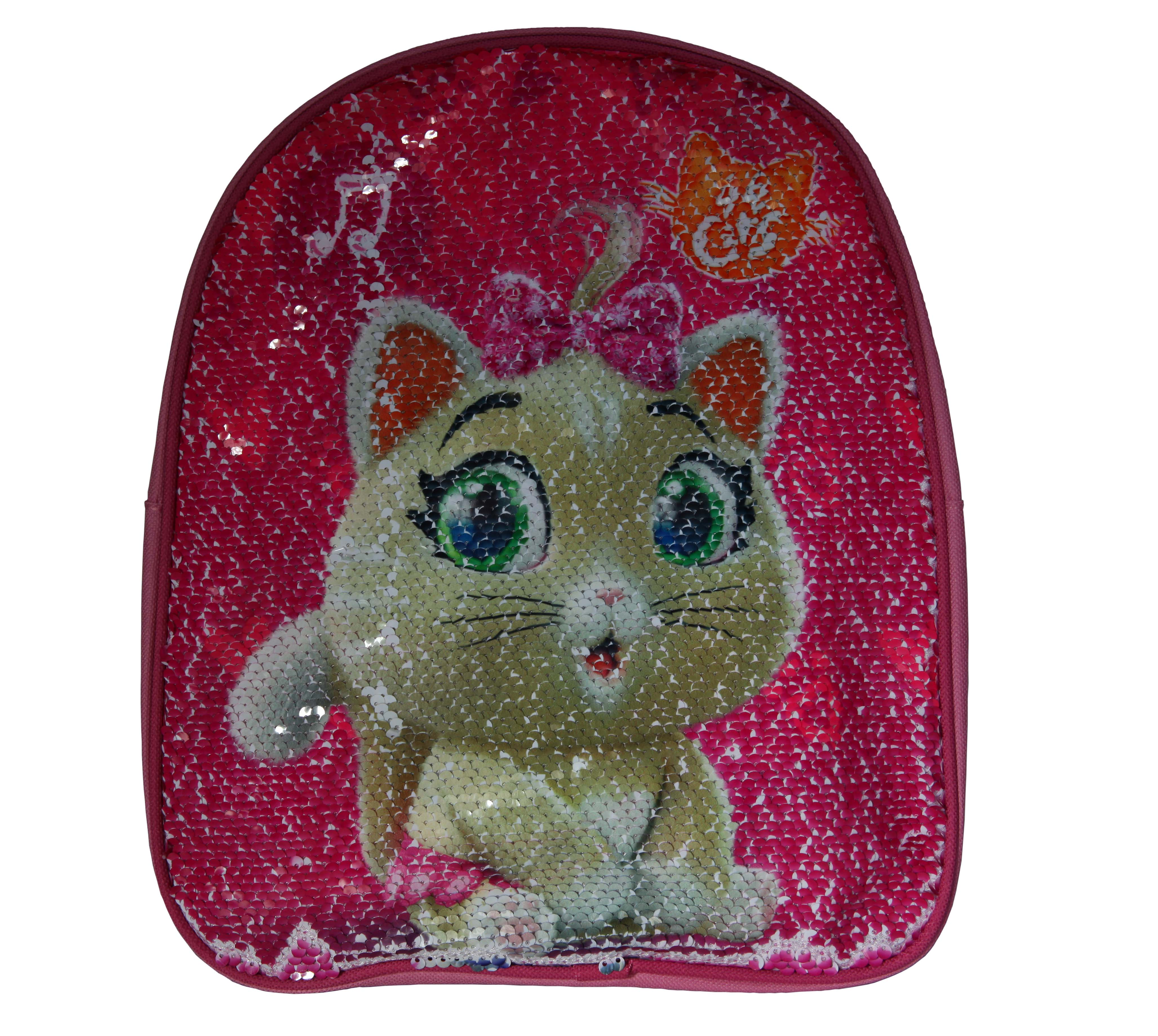 Ghiozdan gradinita cu paiete reversibile 44 Cats, roz 30x26x10 cm0