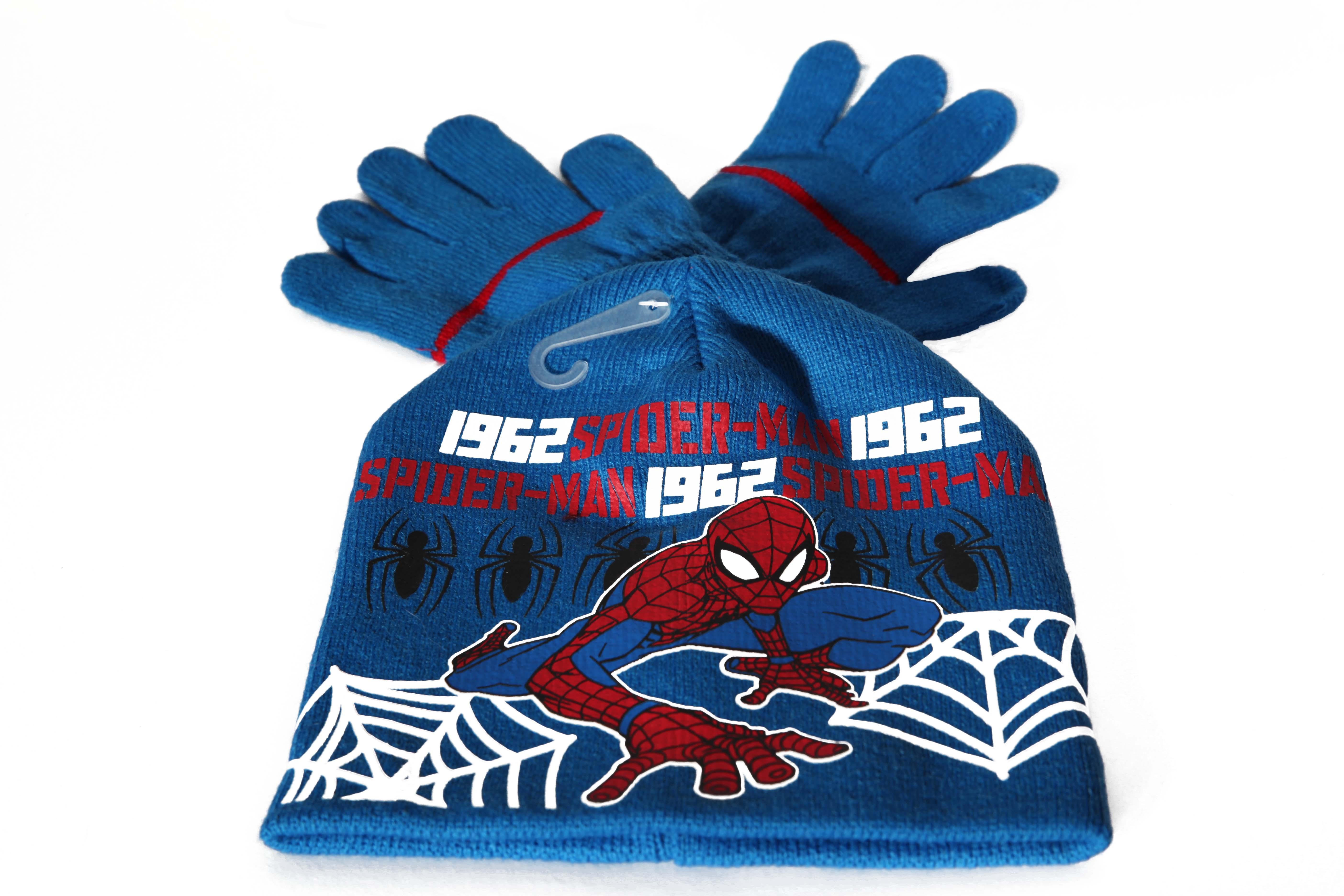 Set caciula+manusi Spiderman, albastru 52 cm0