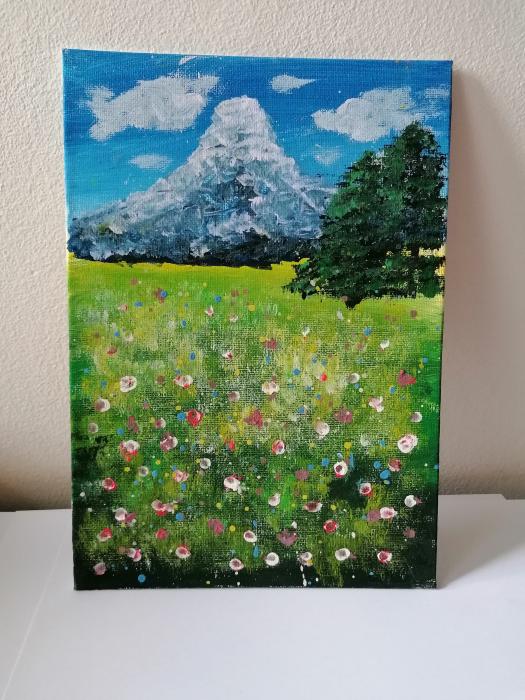 Tablou pictat manual - Natura înflorită 0