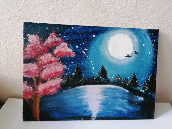 Tablou pictat manual - Lumina iernii 0