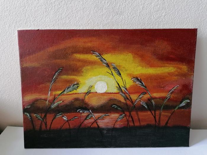 Tablou pictat manual - De veghe în lanul de secara 0