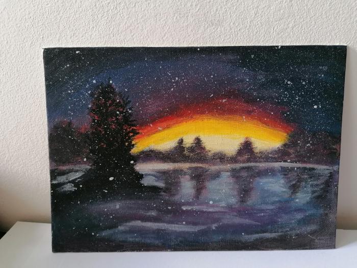 tablou-pictat-manual-apus-de-soare-in-natura 0