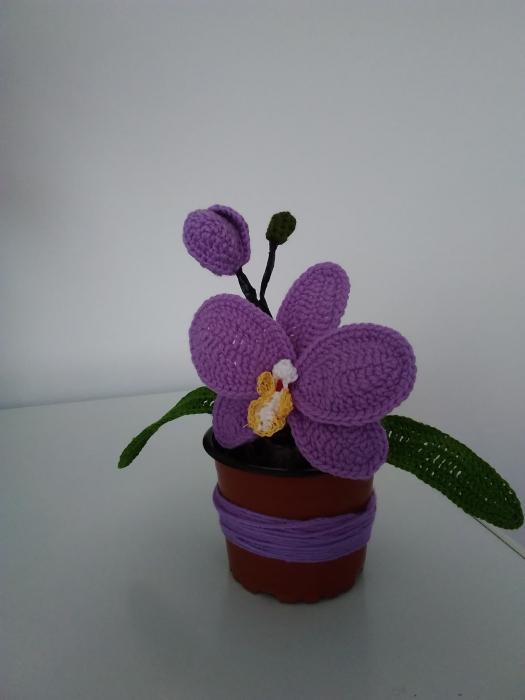 Orhidee croșetată în ghiveci - albă 1
