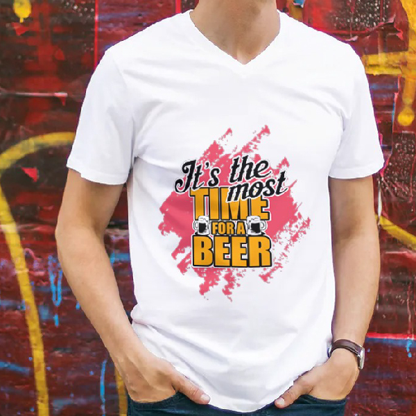 tricou-personalizat-its-the-most-time-for-a-beer-alb-unisex 0