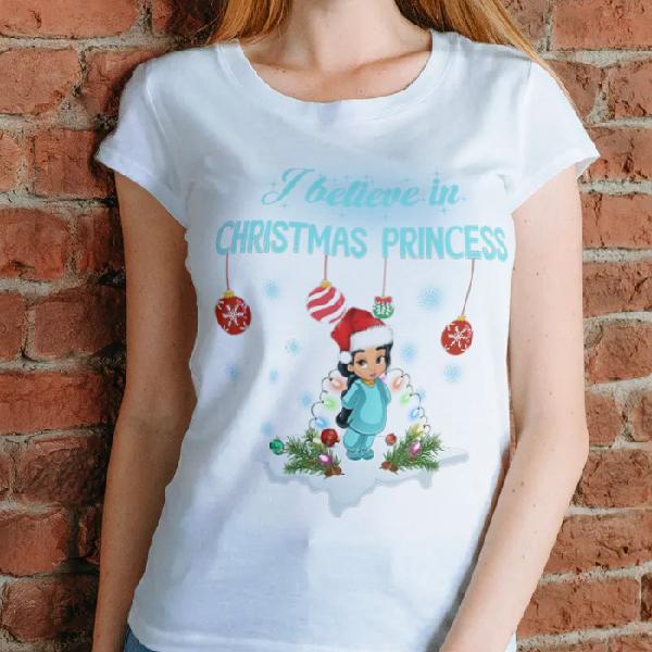 tricou-personalizat-i-believe-in-christmas-princess-alb-unisex 0