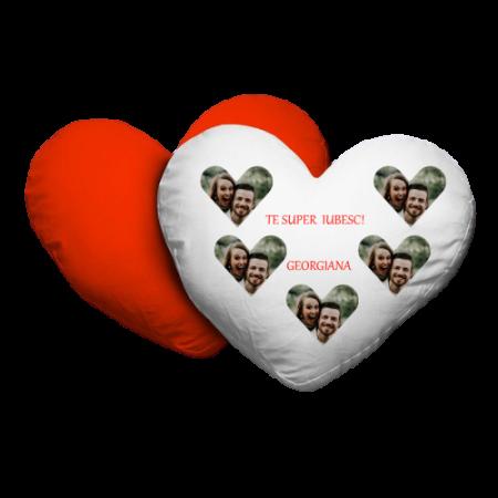 Pernă personalizată inimă cu poze și mesaj