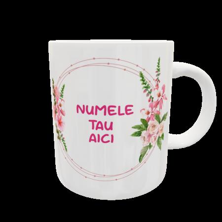 Cană personalizată cu nume și flori0