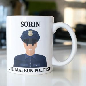 """Cană personalizată cu nume """"Ce mai bun bun polițist""""0"""