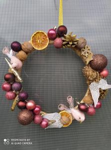 """Coroniță Crăciun handmade pentru ușă """"Fantasy"""", 30 cm ∅1"""