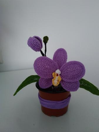 Orhidee croșetată în ghiveci - albă0